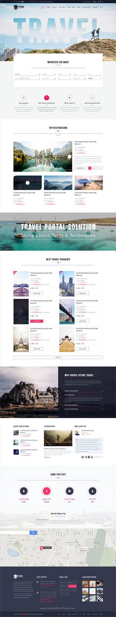 The future is a perfect multipurpose #Photoshop template for stunning #travel #agencies websites with 10+ unique homepage, 25+ awesome portfolio, 15+ great blog, 31+ shopping, 10+ travel package and 166 organized PSD pages download now➩ https://themeforest.net/item/the-future-multipurpose-psd-template/18777752?ref=Datasata