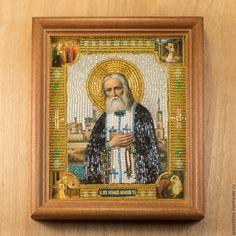Купить Икона св.прп.Серафим Саровский - темно-серый, икона бисером, Икона из бисера
