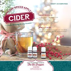 Holiday spiced apple cider infused with essential oils. http://www.theoildropper.com/homemade-holidays/