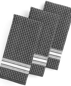 Martha Stewart Collection Kitchen Towels, Set of 3 Waffle Weave Black - Kitchen Gadgets - Kitchen - Macy's