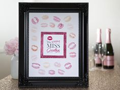 """Bachelor and Bachelorette Party Ideas // """"We Kissed the MISS Goodbye"""" Frame ~ send your bestie off right with this darling keepsake ~ FREE logo download! #DIYNetwork #SomethingTurquoise"""
