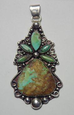 Stunning Royston Ribbon / Boulder Turquoise Sterling Silver Pendant Beautiful! #Handmade