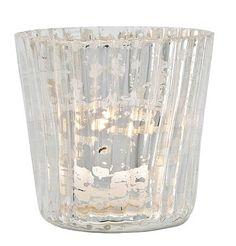 100 Silver Mercury Glass Votive Holders Vertical Motif Ribbed $375. (3 x 3)