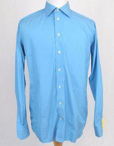 Eton of Sweden Dress Shirt 16.5 Large Contemporary Fit Blue Cotton Spread Collar #Eton
