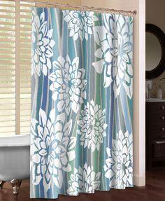 Striped Dahlias Shower Curtain