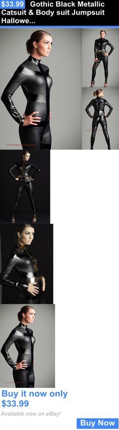 Jumpsuits And Rompers: Gothic Black Metallic Catsuit And Body Suit Jumpsuit Halloween Costume Zipper BUY IT NOW ONLY: $33.99
