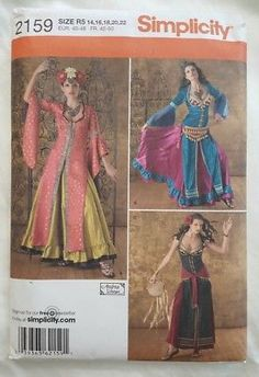 NEW SIMPLICITY SEW PATTERN 2159 MISSES BELLY DANCE GYPSY DANCE COSTUME Sz 14-22