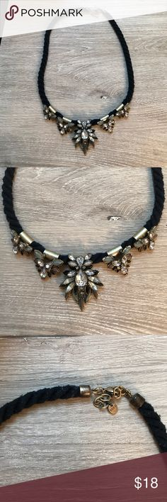 """LOFT Rope Jeweled Necklace LOFT Rope Jeweled Necklace. Black with gold, silver, brown, and light green accents. Total length of Necklace is 28"""" with 2.5"""" included in the length adjustment area. Barely worn! LOFT Jewelry Necklaces"""