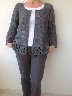 Women Crochet Cardigan/Gray Crochet Jacked/Crochet by Bisakole