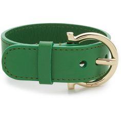 Salvatore Ferragamo Gancio Buckle Bracelet (1.450 VEF) ❤ liked on Polyvore featuring jewelry, bracelets, salvatore ferragamo jewelry, polish jewelry, adjustable bangle, buckle bangle and leather bangle