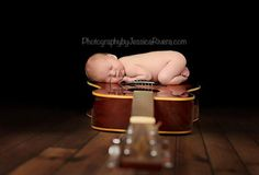 Infant photography idea want to do this with Emersyn, but on a guitar!!