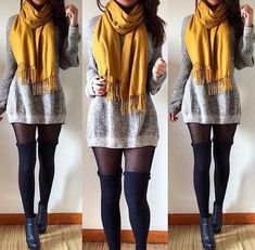 light grey wool long sleeve sweater dress, black sheer tights, black over the knee thigh high socks, black heeled ankle boots, and yellow or other colored scarf.