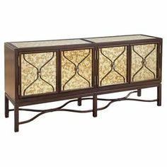 """Server with mercury glass panels and lattice overlay.   Product: ServerConstruction Material: Wood and mercury glassColor: Cream and mahoganyFeatures: Four doorsDimensions: 36"""" H x 72"""" W x 18"""" D"""
