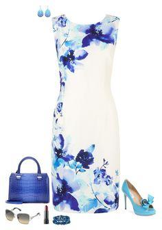 """Floral blue"" by julietajj on Polyvore featuring Jacques Vert, Valentino, Honora, Victoria Beckham, Angélique de Paris and Swarovski"