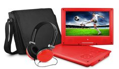 Ematic EPD909RD Swivel Portable DVD Player with Headphones and Bag, 9 Inch - Red