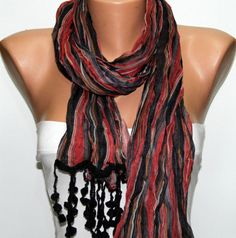 red black  shawl scarf  - by fatwoman, $17.00