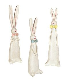 Another great find on #zulily! Bow Tie Bunny Figurine Set #zulilyfinds