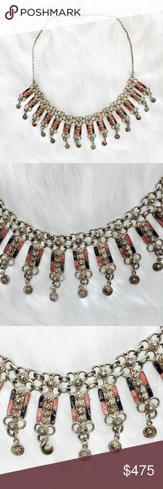 """SOLID •925 SILVER>TASSEL C H O K E R \\[O//S]//• • \\tRINITY Squared•VINTAGE// Genuine + solid •925 stamped Sterling silver ::: Eastern charms adorned with tiny bells + painted red/pink + blue enamel ::: Hand made ::: One of a kind find ::: Clasp to close ::: Polished before shipped ::: No scratches ::: Mint condition ::: Approximately [13""""] long at shortest length• Vintage Jewelry Necklaces"""