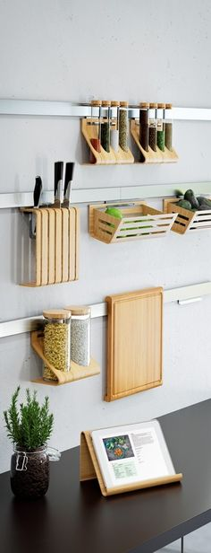 Wall Ledges for Wooden Kitchen Accessories - Tap the link to shop on our officia. - Wall Ledges for Wooden Kitchen Accessories – Tap the link to shop on our official online store! Small Kitchen Organization, Small Kitchen Storage, Home Organization, Ikea Small Kitchen, Small Storage, Creative Storage, Small Kitchen Interiors, Garage Storage, Ikea Small Spaces