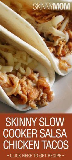 Skinny Slow Cooker Salsa Chicken Tacos