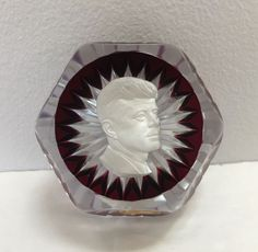 Baccarat French Crystal John Kennedy Sulphide Ruby Paperweight Limited Edition  | eBay