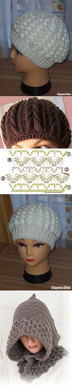 New Crochet Beanie Hat Hooks Ideas Bonnet Crochet, Crochet Beanie Hat, Crochet Cap, Crochet Diagram, Crochet Motif, Crochet Designs, Beanie Hats, Crochet Stitches, Crochet Hooks