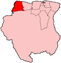 Map of Suriname showing Nickerie district