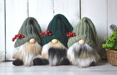 Christmas Mantels, Christmas Decorations, Valentine Day Gifts, Valentines, Grey Fur Coat, Gnome Hat, Scandinavian Gnomes, Different Shades Of Green, Sunflower Flower
