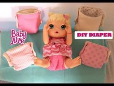 DIY How to make Baby Alive doll diapers free pattern handmade easy craft clothes diaper