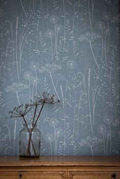 Blue Teal Floral Botanical Tonal Dandelion Woodland Nature Wallpaper // Paper Meadow in 'Teal' by Hannah Nunn Petrol / botanische tonale Löwenzahn Wald Blumentapete blau / Trendy Wallpaper, Of Wallpaper, Nature Wallpaper, Designer Wallpaper, Beautiful Wallpaper, Dandelion Wallpaper, Botanical Wallpaper, Wallpaper Ideas, Wallpaper Lounge