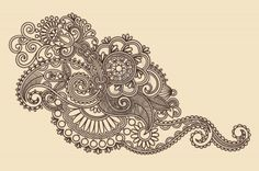 Hand-Drawn Abstract Henna Mendie Flowers Doodle Illustration Design Element  Stock Photo - 11189118
