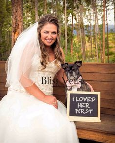 This stunning veil features 1 layer of soft fabric and the length shown on the beautiful bride with her canine friend is This veil is available in 11 lengths from shoulder to cathedral. Could this be the bridal veil for you? Wedding Veils, Lace Weddings, Wedding Dresses, Wedding Lace, Handmade Wedding, Rustic Wedding, Wedding Ideas, Bridal Looks, Wedding Attire