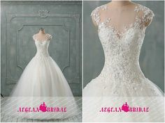 RW301 Lace Wedding Dress Sequined Puffy Bridal by Aegeanbridal
