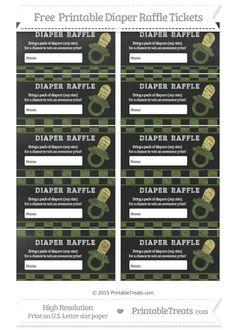 Free Dark Olive Green Checker Pattern  Chalk Style Baby Pacifier Diaper Raffle Tickets