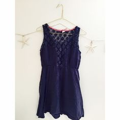 | Element | blue with lace design dress Brand new condition. Greyish dark blue. Knitted top. Worn once. element Dresses