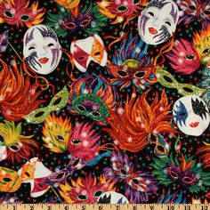 Celebrations Mardi Gras Masks Black from @fabricdotcom  Designed for Robert Kaufman Fabrics, this cotton print fabric is perfect for quilting and craft projects. Colors include orange, green, blue, red, purple and yellow on a black background.