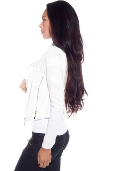 Riding on the Edge Lace Panel Crepe Moto Jacket - White from Alt.B at Lucky 21