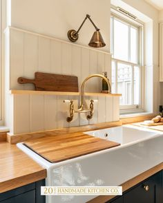 Take a look at this beautiful wall mounted Aged Brass tap and Fireclay double butler sink at our Bishop's Stortford… Modern Shaker Kitchen, Modern Kitchen Sinks, Kitchen Taps, Kitchen Dining, Kitchen Reno, Dining Area, Belfast Sink Kitchen, Range Cooker Kitchen, Butler Sink