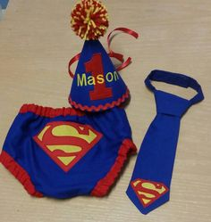 superman cake smash outfit, super hero first  birthday outfit, blue red and yellow cake smash set by SMPstore on Etsy https://www.etsy.com/listing/236450873/superman-cake-smash-outfit-super-hero