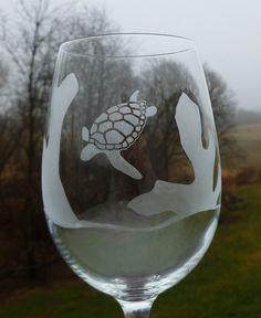 Etched Wine Glasses Ocean Animal Sea by PrimroseTranquility