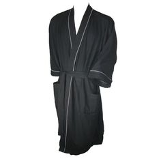 Kimono Robe has a spa inspired waffle knit which allows for year round comfort in even the hottest of climates. Kimono styling robe with 3/4 sleeves makes it ideal for lounging around. The delicate blend of poly/cotton makes for additional softness after continued washings while maintaining its color. Contrast piping for a traditional trim. These kimono robes would make an excellent gift.