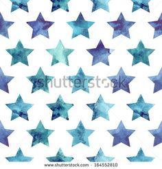 Seamless watercolor stars pattern. Vector illustration