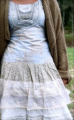 Modest, pretty blue white & grey dress