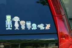 """In the Neatorama store, a set of """"My Monster Family Car Stickers"""" designed by Mike Jacobsen. These are a great antidote to the ubiquitous sickly-sweet minivan stickers. My Monster Family - Family Car Stickers Family Car Stickers, Car Window Stickers, Window Decals, Hallows Eve, Holiday Fun, Toyota, Creepy, Halloween, Family Family"""