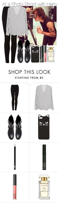 """""""At a Photo Shoot with Harry"""" by elise-22 ❤ liked on Polyvore featuring Topshop, Joie, Zara, AT&T, Forever 21, NARS Cosmetics and AERIN"""