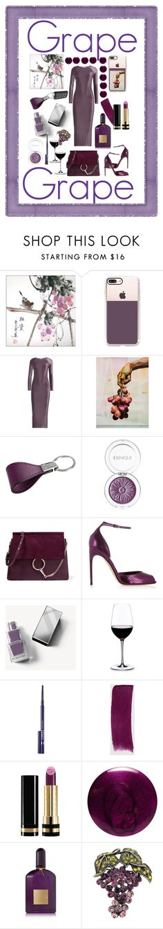 """GRAPE"" by mandimwpink ❤ liked on Polyvore featuring Casetify, Barbara Casasola, NOVICA, Amara, Clinique, Chloé, Brian Atwood, Burberry, Riedel and Gucci"