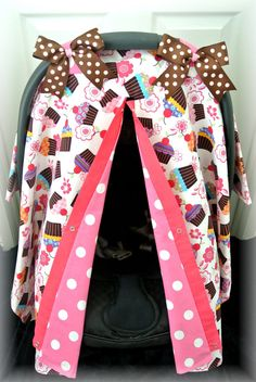 car seat canopy car seat cover cupcakes pink by JaydenandOlivia