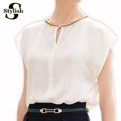 Blusa de las mujeres Elegantes del Diamante Rebordea la Gasa Blusas  Camisetas Blanco Negro 2016 e6f831253f0