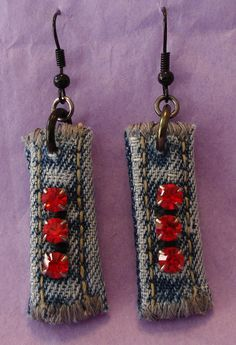 Denim Rhinestone earrings red stones