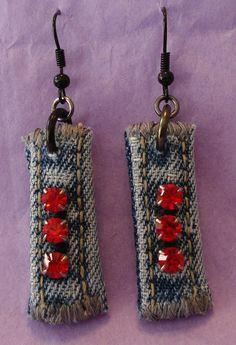 Denim Rhinestone earrings  red stones